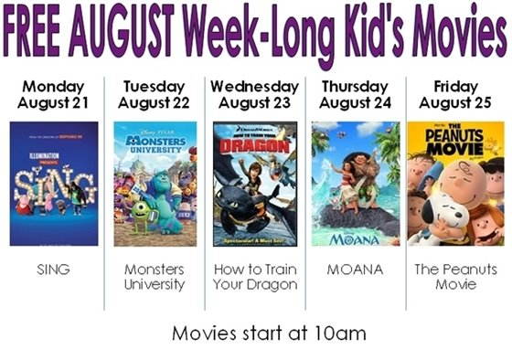 Week Long movies August 21-25